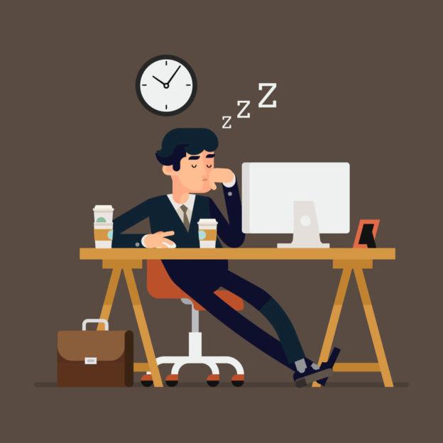 Imagem em desenho de um homem dormindo na mesa do trabalho
